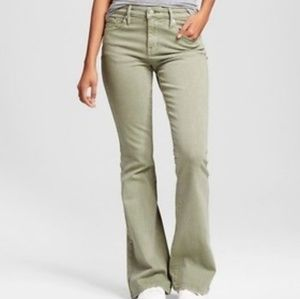Mossimo Olive Green High Waist Flare Leg Jeans